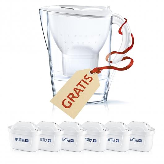 Brita Filtros Agua Maxtra+ Pack 6 + Jarra Marella, Blanca y Transparente