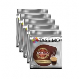 Tassimo Capsulas Marcilla-Espresso-80 bebidas-Caja de 5 Paquetes x 16 Bebidas